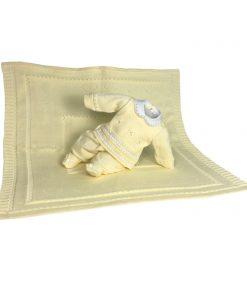 Kit maternidade tricot manta e macacão menina amarelo