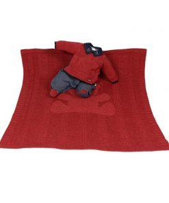 Kit maternidade tricot, manta e macacão menino vermelho