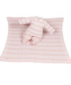 Kit maternidade tricot, manta e macacão menina rosa