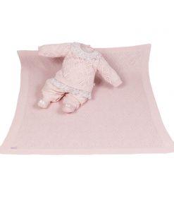 Kit Maternidade Tricot manta e macacão menina rosa