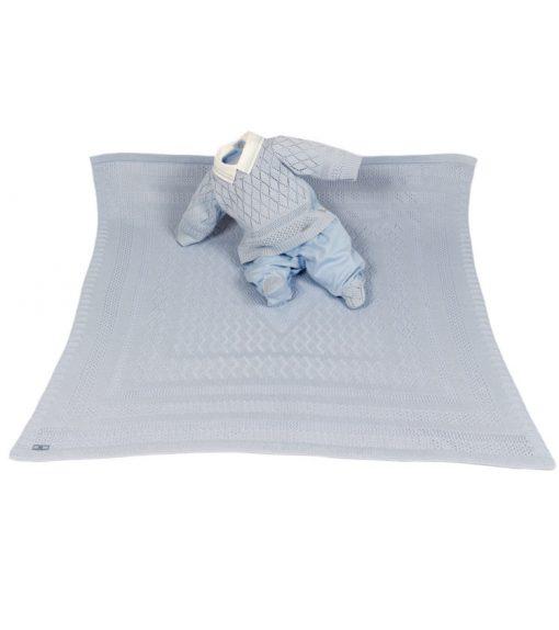 Kit maternidade tricot, manta e macacão menino azul
