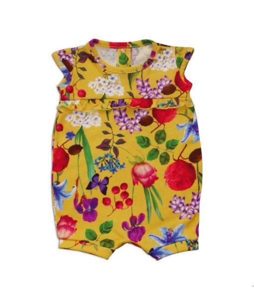 Macaquinho floral amarelo menina