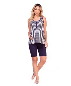 Pijama regata com bermuda gestante
