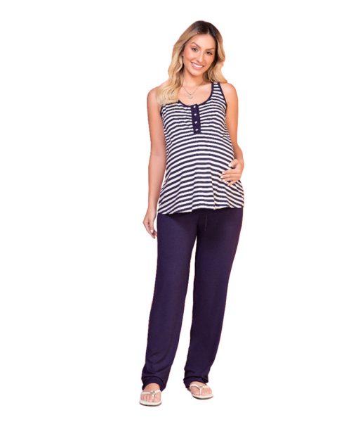 Pijama regata com calça gestante