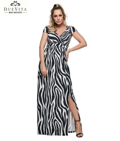Vestido Longe decore drape gestante
