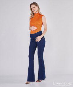 calça jeans flare gestante básica com pesponto ocre