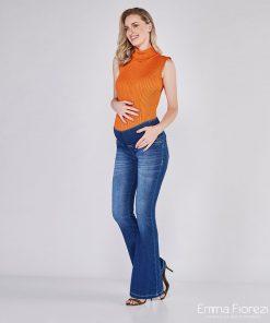 calça jeans gestante flare pesponto diferenciado