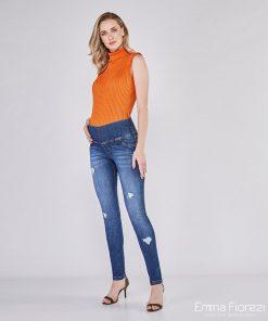 calça jeans gestante skinny com puídos