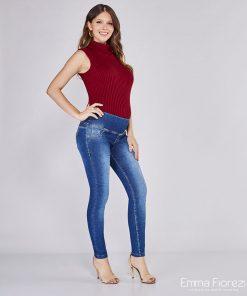 calça jeans gestante skinny elastic power azul