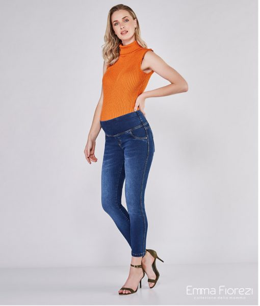 calça jeans gestante skinny escuro