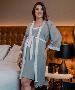 Camisola e robe gestante com detalhe de cetim frente robe