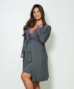 Camisola com robe e renda bicolor