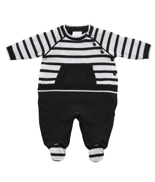 macacão bebê tricot com bolso