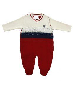 Macacão bebê tricot com listras degradê