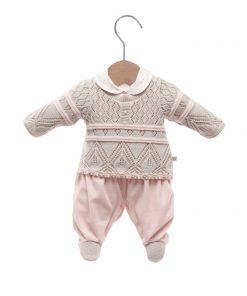 Macacão bebê tricot isabela rosa