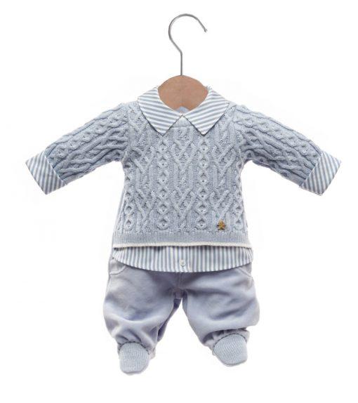 Macacão bebê tricot nicholas azul