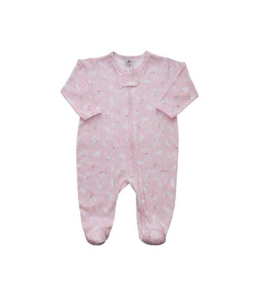 Macacão bebê rosa coelhinha com ziper