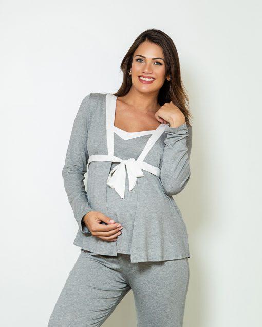 Pijama 3 peças com detalhe cetim mescla