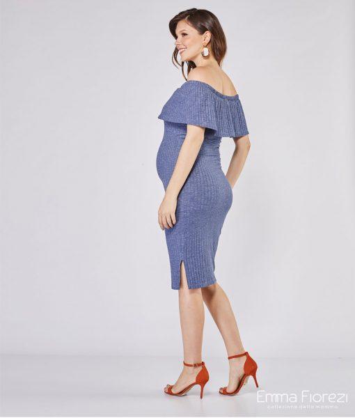 vestido midi gestante ciganinha azul costas
