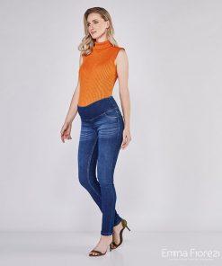 calça jeans gestante skinny moletom azul escuro