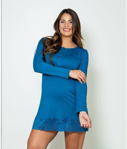 camisola manga longa com renda azul