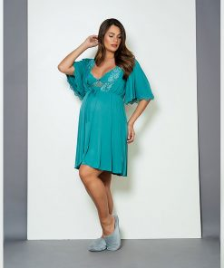 Conjunto camisola e robe com renda verde