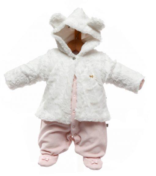 Macacão bebê com casaco de pele lais