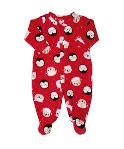 Macacão infantil soft bichinhos vermelho frente