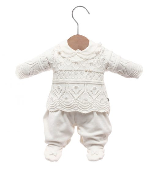 Macacão bebê tricot bia off white