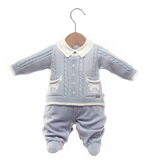 Macacão bebê tricot caio azul