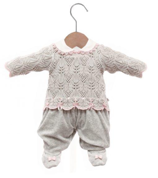 Macacão bebê tricot elisa cinza