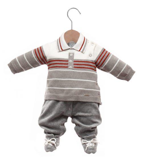 Macacão bebê tricot fabricio cinza mescla