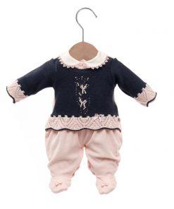 Macacão bebê tricot flora azul
