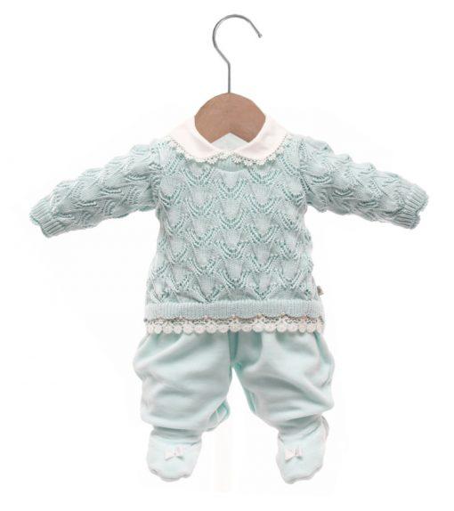 Macacão bebê tricot gabriela verde