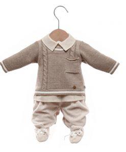 Macacão bebê tricot hugo caqui