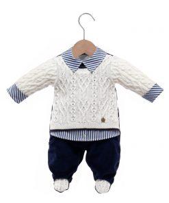 Macacão bebê tricot nicholas off white