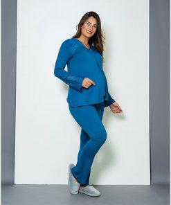 Pijama trio com renda e casaquinho azul