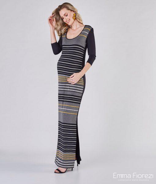Vestido longo gestante listrado