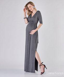 Vestido longo gestante com decote transpassado cinza mescla
