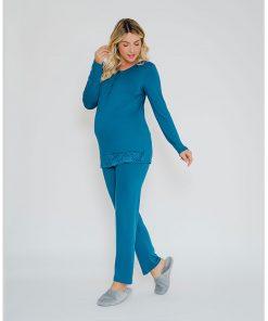 Pijama com abertura amamentação e renda lateral