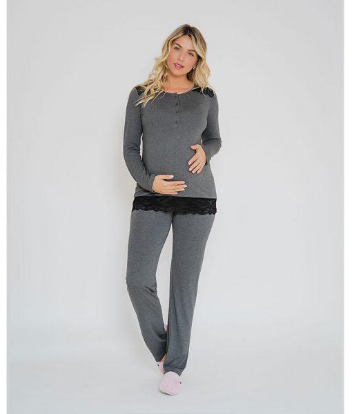 Pijama com abertura amamentação e renda mescla escuro frente