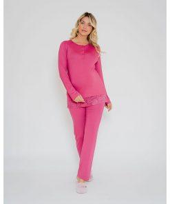 Pijama com abertura amamentação e renda rosa
