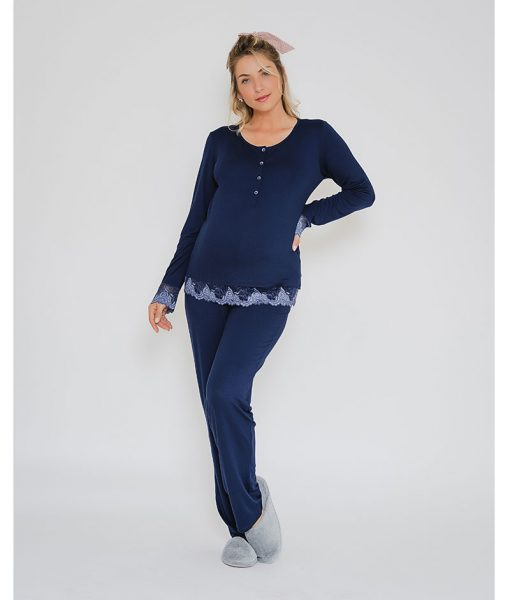 pijama marinho com renda azul bicolor