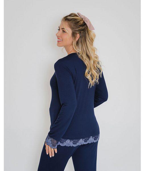 pijama marinho com renda azul bicolor costas