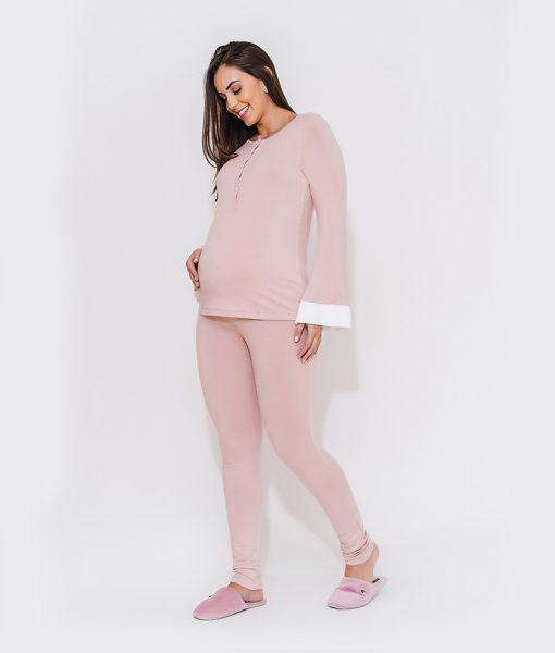 pijama moletinho com detalhe em cetim