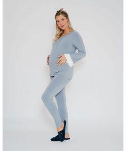 Pijama Moletinho com detalhe em cetim perfil