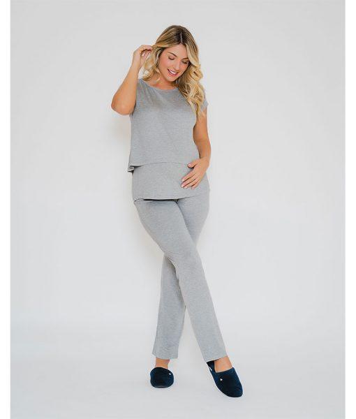 Pijama amamentacao com cropped mescla