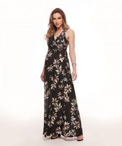 Vestido longo decote drape folha flor