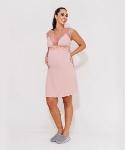 camisola curta manga com renda rose