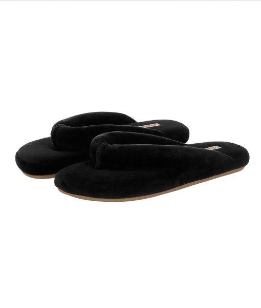 chinelo de dedo em plush preto